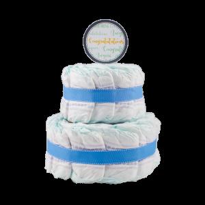 Basic 2-Tier Blue Nappy Cake
