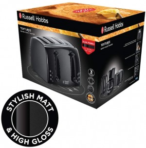 Russell Hobbs Textures Four Slice Black Plastic Toaster (21651)