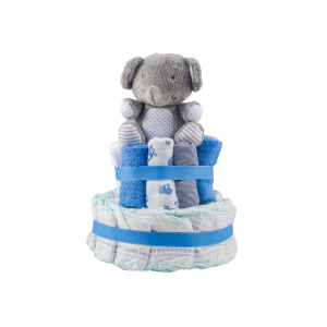 Personalised 2-Tier Blue Nappy Cake