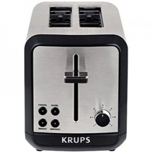Krups SAVOY Brushed Stainless Steel 2-Slice Toaster with Bagel Function (KH3110)