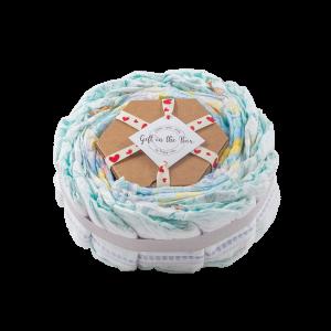 Stylish 2-Tier Multi-Coloured Nappy Cake