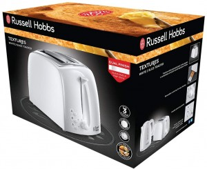 Russell Hobbs Textures Two Slice White Plastic Toaster (21640)