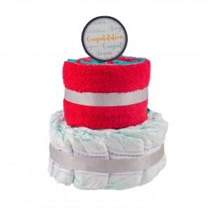Basic 2-Tier Multi-Coloured Nappy Cake