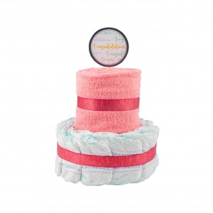 Basic 2-Tier Pink Nappy Cake