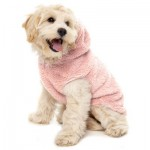 FuzzYard Plush Teddy Dog Hoodie - Blush Pink Size 2