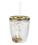 Lovesome Labels - Gold Glitter Tumbler with straw