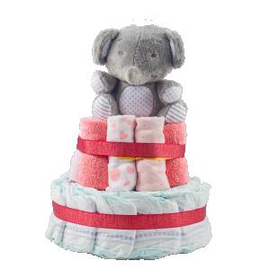 Stylish 2-Tier Pink Nappy Cake