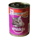 Whiskas 1+ Can with Beef in Jelly (24x390gr)