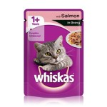 Whiskas 1+ Cat Pouch with Salmon in Jelly (24x100gr)